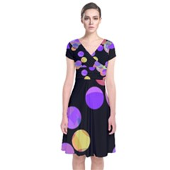Colorful Decorative Circles Short Sleeve Front Wrap Dress