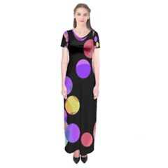 Colorful Decorative Circles Short Sleeve Maxi Dress
