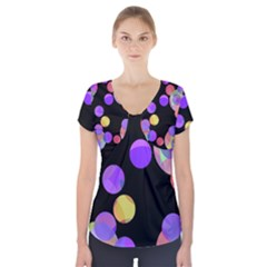 Colorful Decorative Circles Short Sleeve Front Detail Top