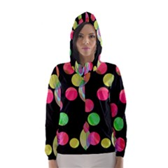 Colorful decorative circles Hooded Wind Breaker (Women)