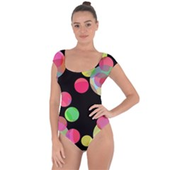 Colorful decorative circles Short Sleeve Leotard