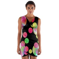 Colorful decorative circles Wrap Front Bodycon Dress