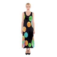 Orange Circles Sleeveless Maxi Dress