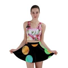 Orange circles Mini Skirt