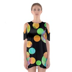 Orange Circles Cutout Shoulder Dress