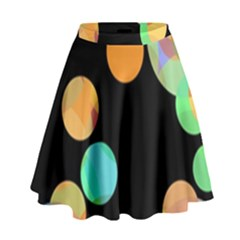 Orange circles High Waist Skirt