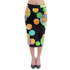 Orange Circles Midi Pencil Skirt