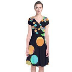 Orange Circles Short Sleeve Front Wrap Dress