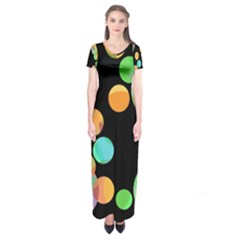 Orange Circles Short Sleeve Maxi Dress
