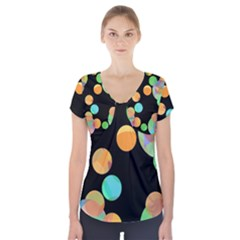 Orange Circles Short Sleeve Front Detail Top