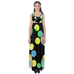 Yellow Circles Empire Waist Maxi Dress