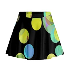 Yellow Circles Mini Flare Skirt