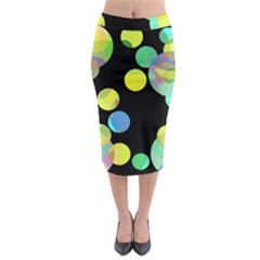 Yellow Circles Midi Pencil Skirt
