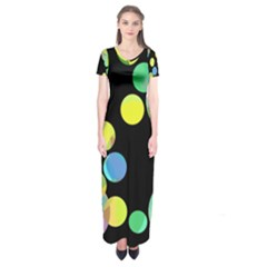 Yellow Circles Short Sleeve Maxi Dress