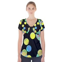 Yellow Circles Short Sleeve Front Detail Top