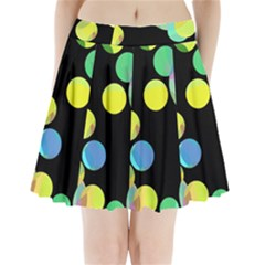 Yellow Circles Pleated Mini Mesh Skirt