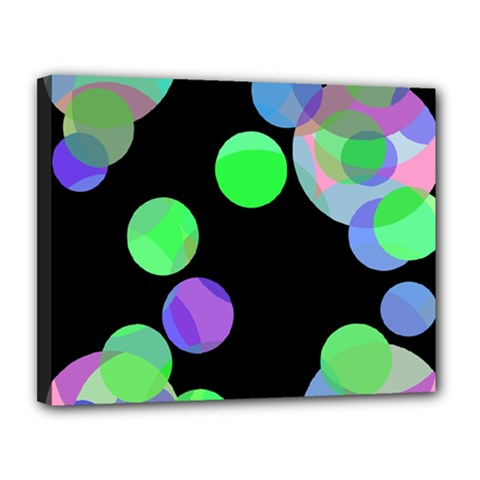 Green decorative circles Canvas 14  x 11
