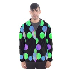 Green decorative circles Hooded Wind Breaker (Men)