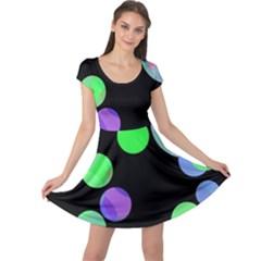 Green decorative circles Cap Sleeve Dresses