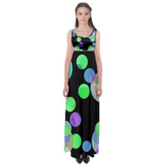 Green decorative circles Empire Waist Maxi Dress