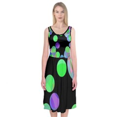 Green Decorative Circles Midi Sleeveless Dress