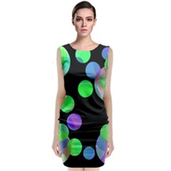 Green Decorative Circles Classic Sleeveless Midi Dress