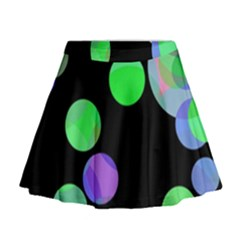 Green Decorative Circles Mini Flare Skirt