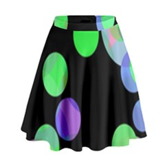 Green Decorative Circles High Waist Skirt