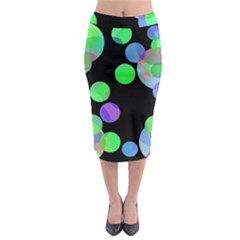 Green Decorative Circles Midi Pencil Skirt
