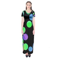 Green Decorative Circles Short Sleeve Maxi Dress