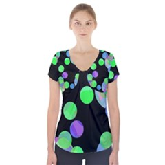 Green decorative circles Short Sleeve Front Detail Top