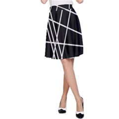 Black and white simple design A-Line Skirt