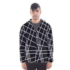 Black and white simple design Hooded Wind Breaker (Men)