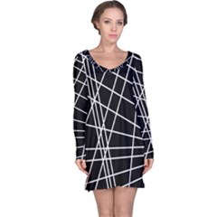 Black and white simple design Long Sleeve Nightdress