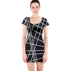 Black and white simple design Short Sleeve Bodycon Dress