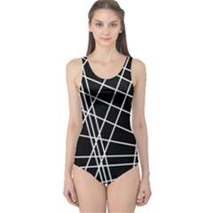 Black and white simple design One Piece Swimsuit