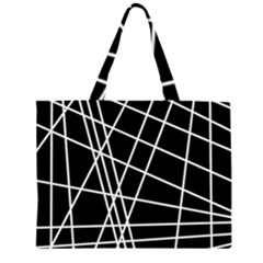 Black and white simple design Large Tote Bag