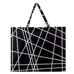 Black And White Simple Design Zipper Large Tote Bag