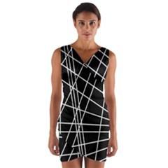 Black and white simple design Wrap Front Bodycon Dress