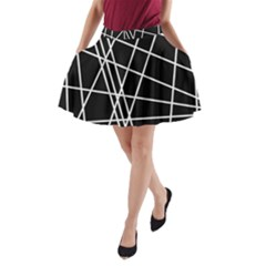 Black and white simple design A-Line Pocket Skirt