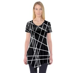 Black and white simple design Short Sleeve Tunic