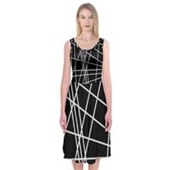 Black And White Simple Design Midi Sleeveless Dress