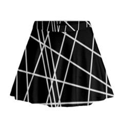 Black And White Simple Design Mini Flare Skirt