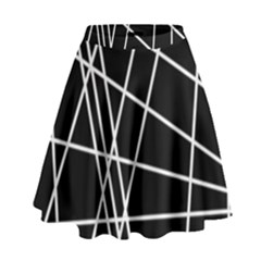 Black And White Simple Design High Waist Skirt