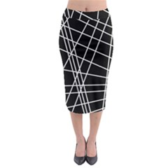 Black And White Simple Design Midi Pencil Skirt