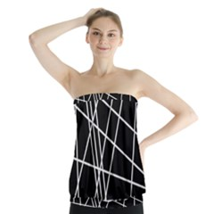 Black And White Simple Design Strapless Top