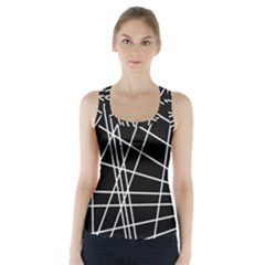 Black And White Simple Design Racer Back Sports Top