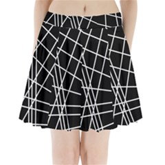 Black And White Simple Design Pleated Mini Mesh Skirt