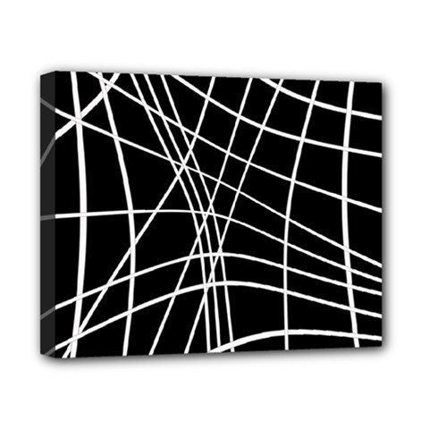Black and white elegant lines Canvas 10  x 8