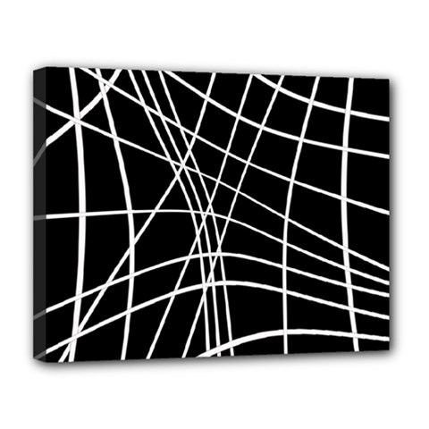 Black and white elegant lines Canvas 14  x 11